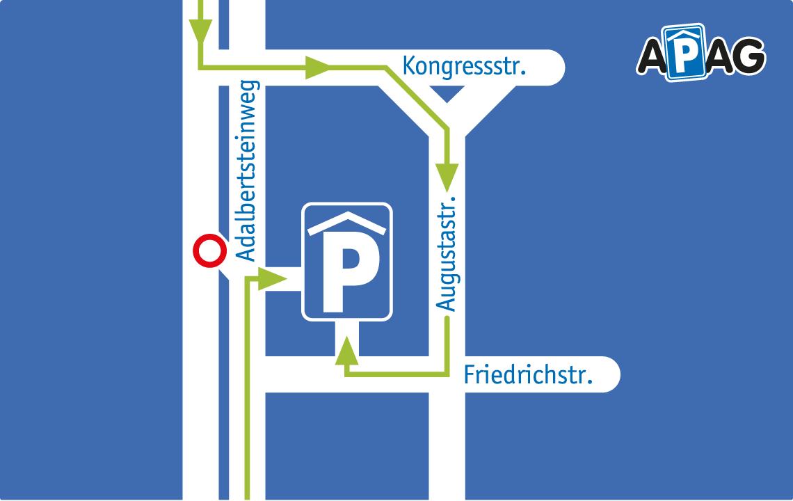Änderung der Anfahrt zum Parkhaus Adalbertsteinweg während der Baumaßnahmen